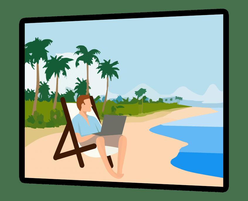 Programmierer am Strand