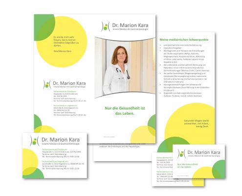 Dr. Marion Kara Visitenkarten, Folder, Abreißblock