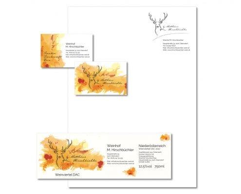 Weinhof Hirschbüchler Visitenkarte, Etikette, Briefpapier
