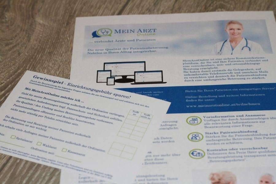 Mein Arzt Online Infoblatt, Gewinnspielkarte