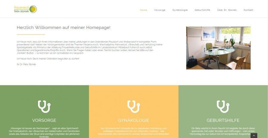 Bereich der Startseite - Webseite Arzt