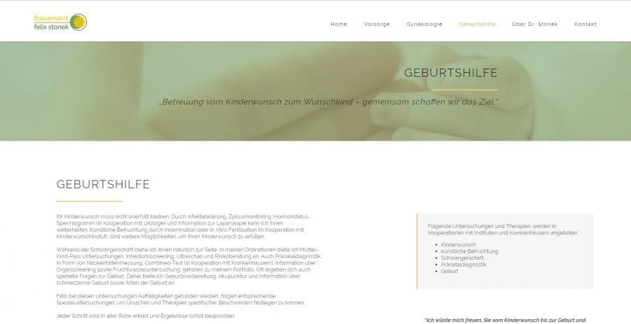 Informationsseite - Webseite Arzt