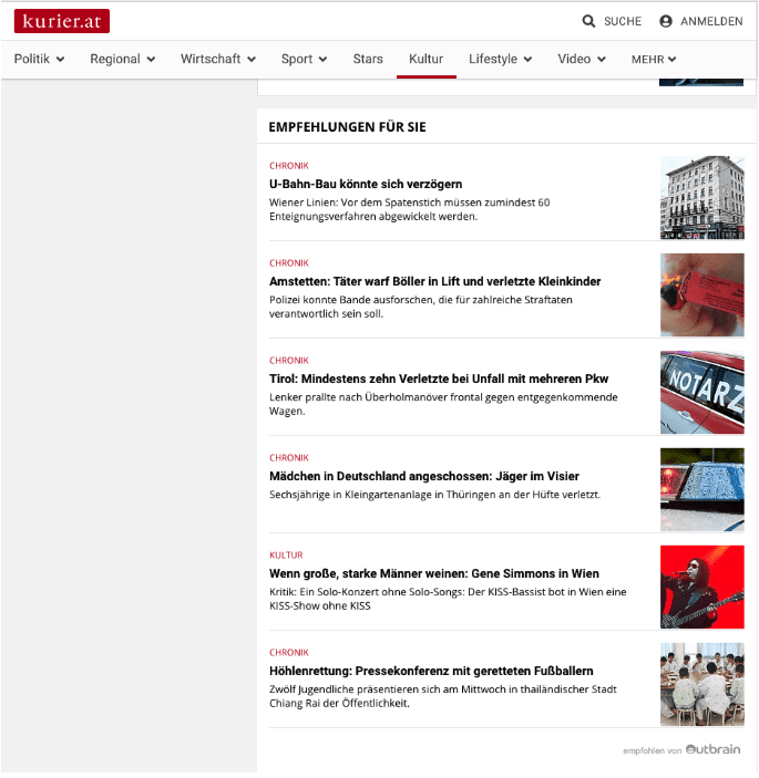 Kurier Online Screenshot zeigt Native Advertising