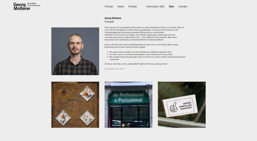 Erstellung einer Webseite für Fotograf