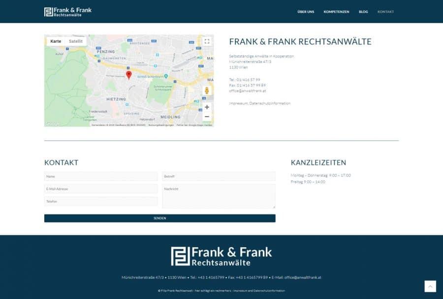 Webseite Rechtsanwalt Frank Kontakt by rechnerherz