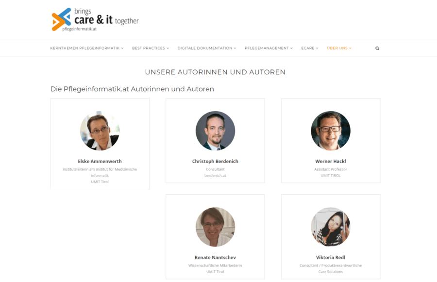 pflegeinformatik.at - Liste der Autorinnen und Autoren des Blogs